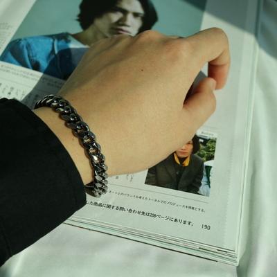 남자 팔찌 블랙 레이어드 Blacknickel Simple Bracelet