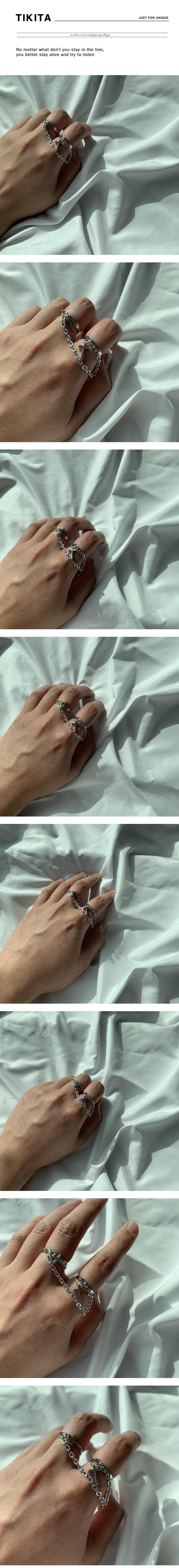 남자 반지 연결 체인 힙합 패션 thin two chain - 티키타, 29,900원, 남성주얼리, 반지
