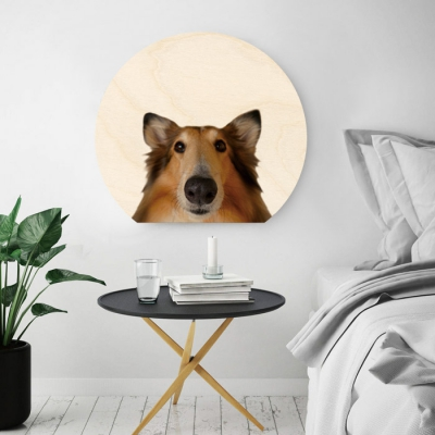 대형 강아지 원형우드액자 벽걸이 액자