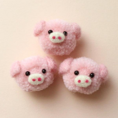 핑크돼지 털실양모펠트1p