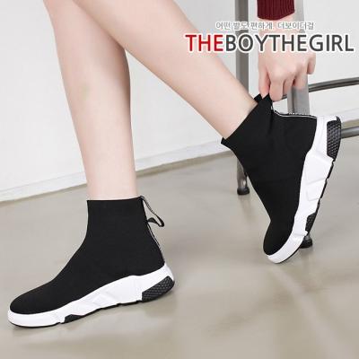 WS-6875 여자 밴딩 니트 하이 스니커즈 신발 블랙