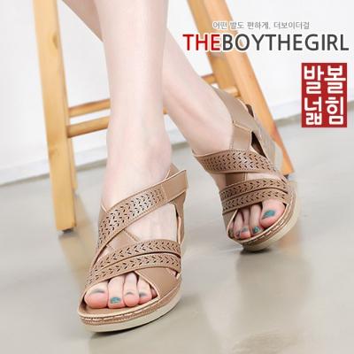 WS-7457 여자 슬링백 웨지힐 샌들 통굽 여름 신발