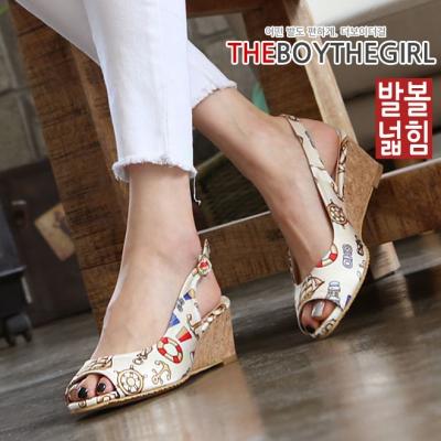 WS-7516(5cm) 여자 웨지 슬링백 샌들 여름 미들힐