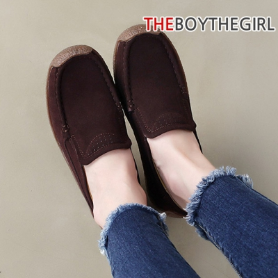 WS-7933 세무가죽 여자 로퍼 모카신 가을 신발
