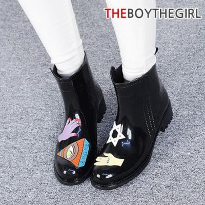 WS-8845 여자 블랙 레인부츠 여름 숏부츠 비올때 신발