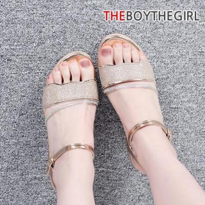 WS-8998 여자 스트랩 웨지힐샌들 골드 블랙 여름 신발
