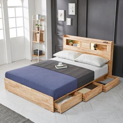 플레인 LED 원목 퀸 침대