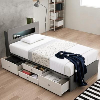 프레즈 LED 4단 서랍형 슈퍼싱글 침대