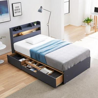 로엠 LED 헤드수납 4서랍형 침대 SS
