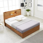 프레시 고무나무원목 LED 4서랍 침대 Q